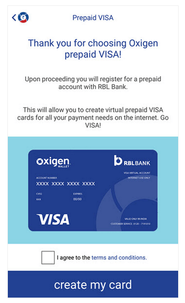 image of Oxigen Wallet Virtual Card SignUp Form