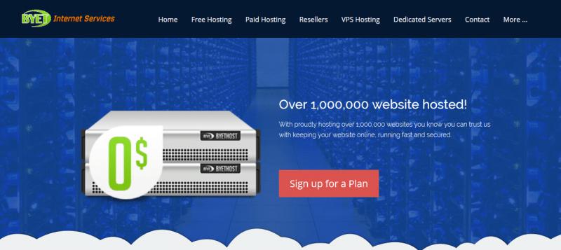 Byethost  free web hosting banner