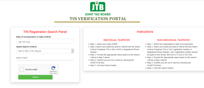 Image of Tax Identification Number portal