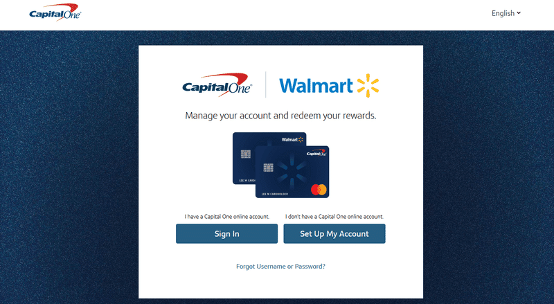 Walmart Capital One sign up form