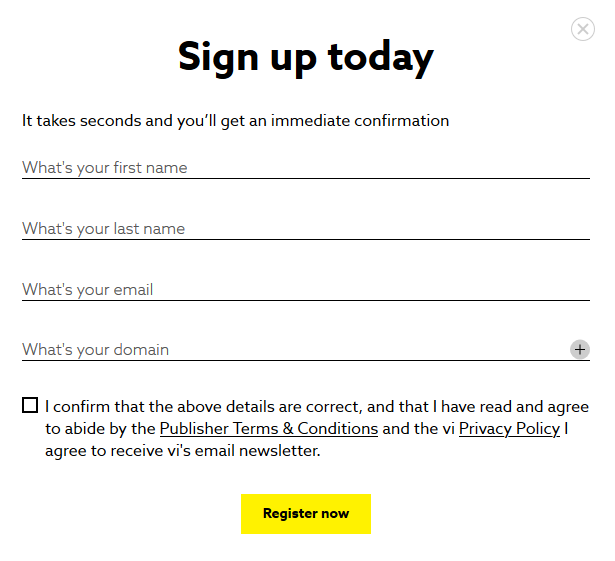 Contextual Video Platform Sign up form