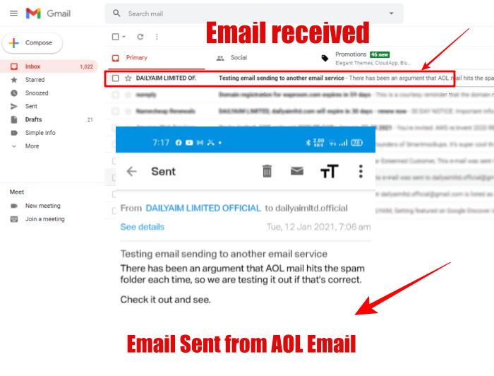 aol email sent and received in gmail-image