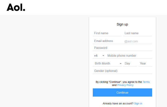 aol mail sign up new account registration form 1-image