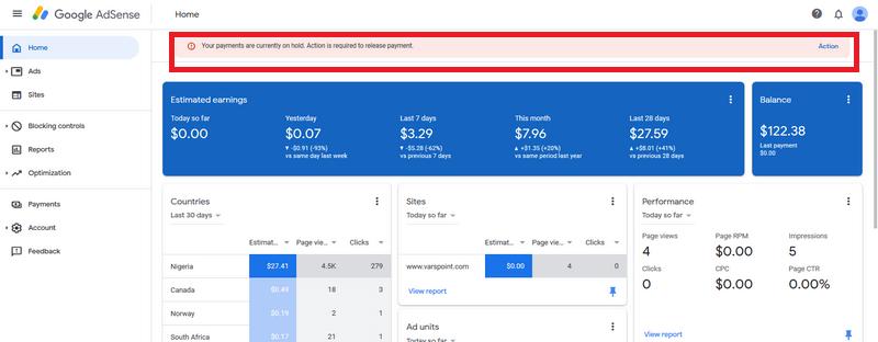 google adsense earning on hold image 1